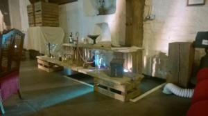 The inside of Merchant Adventurers' Hall, transformed into Dr Jekyll's laboratory.