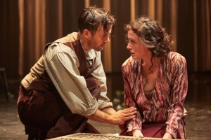 Jonah Russell as Mellors and Hedydd Dylan as Lady Chatterley. (Photo by Mark Douet)