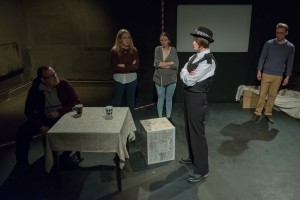 Mark France, Annabel Lee, Anna Rose James and Claire Morley in The Taskers' Trials. (Photo by Michael J Oakes)