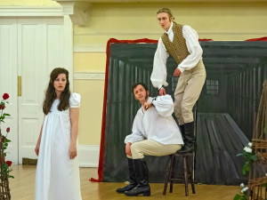 Jennie Wogan as Emilia, Jim Paterson as Arcite, Ruben Wollny as Palamon (Credit John Saunders)