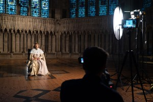 THE SACRED KING filming on location in York Minster, photograph by Ben Porter